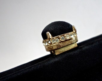 Petite Satin Jewel Clasp Evening Black Purse Vintage