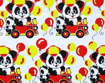 Vintage Juvenile HAPPY BIRTHDAY Gift Wrap Wrapping Paper - Panda BEARS in Fire Trucks - 1960s 1970s