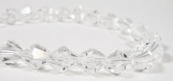 """Bicone Crystal Beads 8mm Clear Faceted Chinese Crystal Glass Beads for DIY Jewelry Making on a 7 1/2"""" Strand with 25 Beads"""