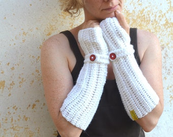 White crochet arm warmers, extra long hand knit fingerless gloves with red wooden button, alpaca mittens