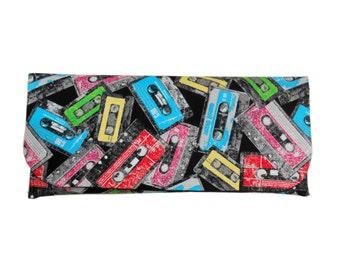 Clutch Purse. Cassette Tape Clutch bag. Retro clutch purse, tape deck hand bag.