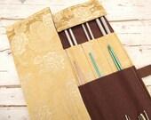 Knitting Needle Case, Knitting Needle Roll, Paintbrush Roll, Tool Organizer, Yellow Damask Fabric
