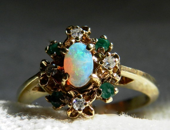 Opal Engagement Ring Emerald Opal Diamond By Lovealwaysgalicia