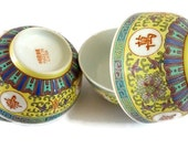Four Vintage Hand Painted Chinese Ceramic Rice Bowl -  Collector serving Bowls