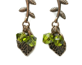 Copper Leaf  Earrings with Olivine Crystals