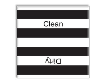 Guajolote Prints Clean Dirty Dishwasher Magnet 2.5 x 2.5 inches Black and White Stripes