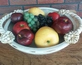Vintage ceramic fruit bowl, ceramic roped handle bowl