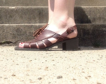 90s Brown Leather Lace Up/ Sling Back Sandals