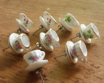 Teacup Earrings Studs, 1:12 Miniature Tea Set, Porcelain, Roses, Flowers, Florals, Cherries, Lucky Clovers, Hypoallergenic Surgical Steel