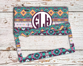 Tribal license plate or frame monogram, Aztec car tag purples light blue, Personalised car tag, Bike license plate, Car accessories  (1002)