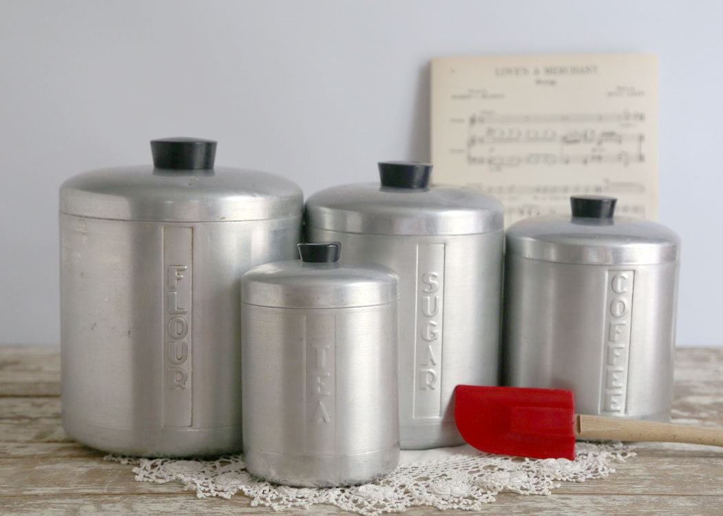 vintage kitchen canisters sets vintage aluminum kitchen canister set retro mid century silver 22587