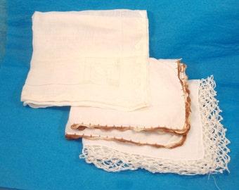 Vintage White Ladies Cotton Hankies, Set of 3 - White Lacy Crocheted Edge, Brown Crocheted Edge, White Appliqued Edge with Open Weave Inset