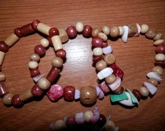 Wood and Sea Shell Handmade Sea Spirit Bracelets