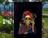 Frida Skull Smoking Fan New Small Garden Flag Events Gifts Day of the Dead