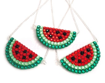 Watermelon Necklace Sparkly Watermelon Pendant Rhinestone Watermelon Jewelry Watermelon Jewellery Melon Necklace Rockabilly Bling Jewelry