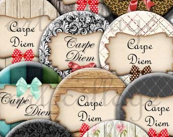 """Digital collage sheets  """"Carpe Diem""""1 pouce,20,18,16,14,12mm"""