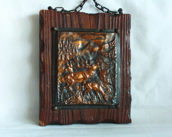 Old copper woodland repousse with deers on beautiful textured wood backing, Vintage wall hanging, home decor, hunting cabin, lodge, nursery