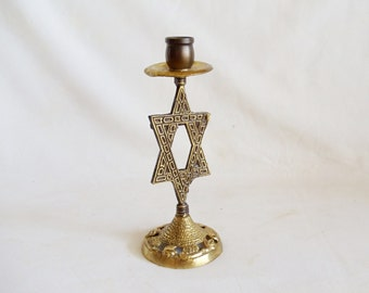 Star of David, vintage brass candlestick, candle holder, Judaica, Jewish holiday table decoration, home decor, Grapes of Canaan, Māḡēn Dāwīḏ