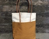 SALE Mustard Yellow Canvas Expedition Tote with Large Pockets and Bridle Leather Handles