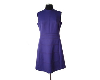 1960s Purple Sleeveless Shift Dress with A-line Skirt Gently Curved Neckline and Decorative Panel Detailing