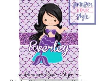 Mermaid Custom Baby Blanket - Baby Shower Gift - First Birthday Blanket - Nursery Bedding - Throw Blanket - Personalized Blanket
