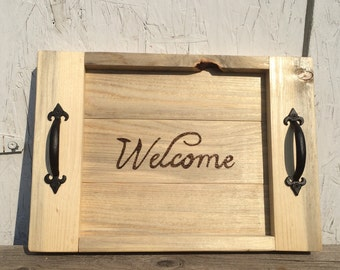 Personalized rustic tray, small serving tray with handles, welcome tray