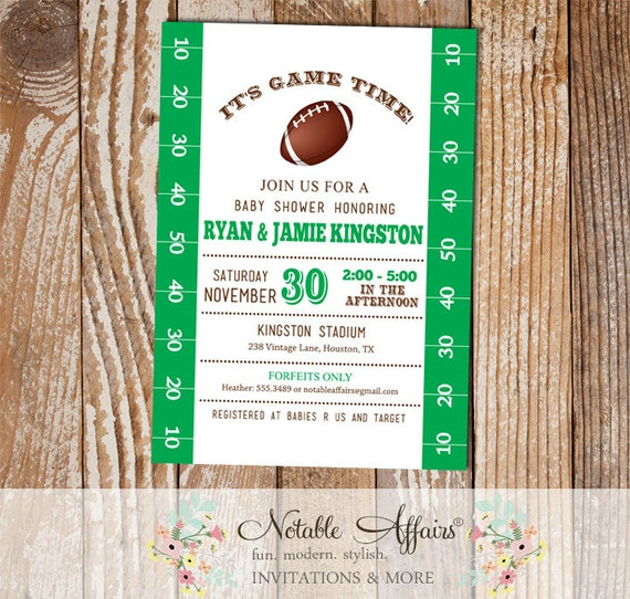 football field tailgate baby shower invitation football baby