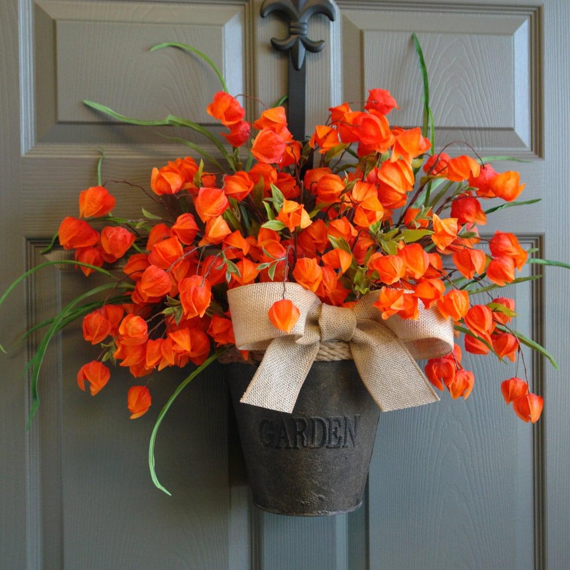 Autumn Door Decorations Orange Door : Fall wreaths front door thanksgiving by aniamelisa