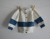 SALE 50 OFF Vintage Wool Toddler Jacket Knitted Baby Shirt Handmade Kids Winter Clothing