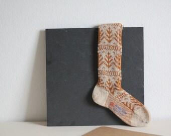 SALE 50 OFF Boot Socks  Vintage Wool Kids Socks Leg Warmers Winter Knee High Socks Orange Beige Cozy Warm Clothing Portugal Old New Stock