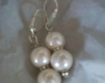 Fresh Water Pearl Earrings for Bride, Silver loop hook, Drop Dangle Bridal Jewellery, Wedding Accessory, Bridesmaid Gift