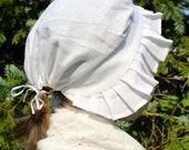 Ladies' Round Eared Cap of Linen - Made to Order - 18th Century Georgian & Colonial Reenactors Item