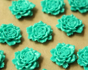 10 pc. Turquoise Detailed Rose Cabochons 24mm   RES-551
