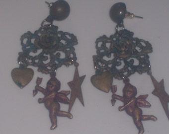 Antique VERDIGRIS FILAGREE EARRINGS
