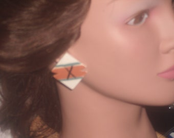 Vintage Southwestern bisque native american made earrings