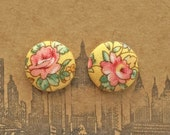 Yellow Button Earrings / Fabric Covered / Small Stud Earrings / Wholesale Jewelry / Bridal Shower Favors / Made in USA / Bulk