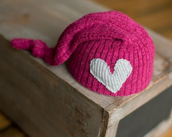 Newborn Hat Pink Upcycled Hat Girl Newborn Hat with Gray Heart newborn photography prop READY TO SHIP, Newborn Girl Props, Baby Girl Hats