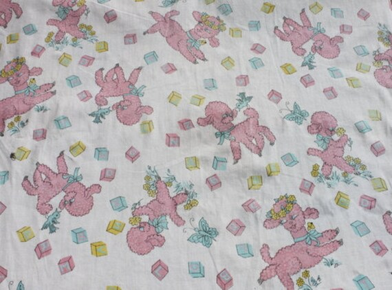 Vintage cute pink baby lamb cotton fabric nursery fabric for Curtain fabric for baby nursery