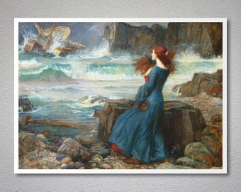 John William Waterhouse, Miranda, 1916 - Poster Paper, Sticker or Canvas Print