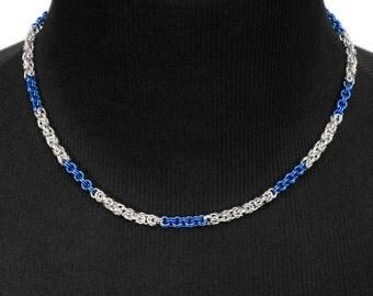 Blue Byzantine Necklace   silverplated