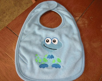 Embroidered Baby Bib - Blue Dinosaur - Blue Bib