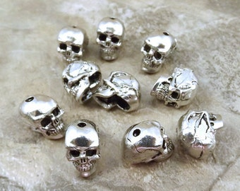 10 Pewter 12mm Skull Beads with Vertical Hole - 5095