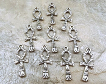 Set of 10 Pewter Ankh Charms  - 5425