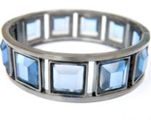 Blue Glass Gunmetal Hinged Cuff Bracelet Modern Industrial Design Collectible Jewelry Faceted Square Glass Panel Gray Blue Steel