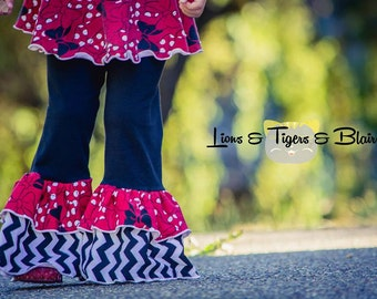 Girls Lizzy Ruffled Pants - PDF Sewing Pattern Sizes 12 months - 12  Instant Download Printable Pattern