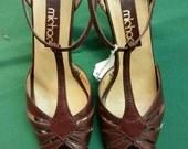 1960s Brown Sandal Heels Size 7