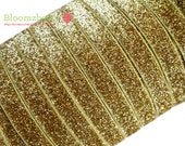 "5/8"" Glitter Elastic  - Gold Color - Headband- Gold Glitter Elastic - Gold  Gold Elastic -Velvet Glitter Elastic -Hair Accessories Supplies"