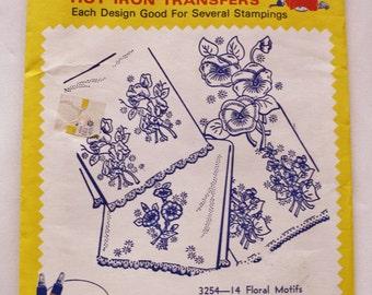 Aunt Martha's Hot Iron Transfers 3254-14 Floral Motifs Vintage Embroidery Pattern Linen Motifs