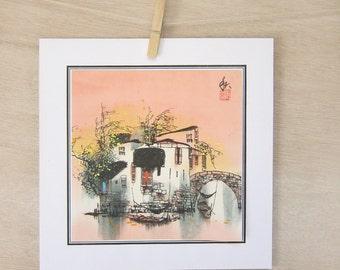 Vintage art print, Peach Antique Print of Original Asian Art  watercolor Painting  River Nature..Vintage Art Print, traditional Japanese