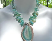 Big Bold Chunky Statement Necklace, Huge Agate Druzy Geode Slice Pendant, Green Stone, Agate Sticks, Tribal Necklace  003